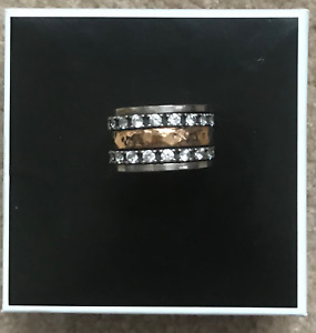 Gold and sterling silver cubic zirconium ring