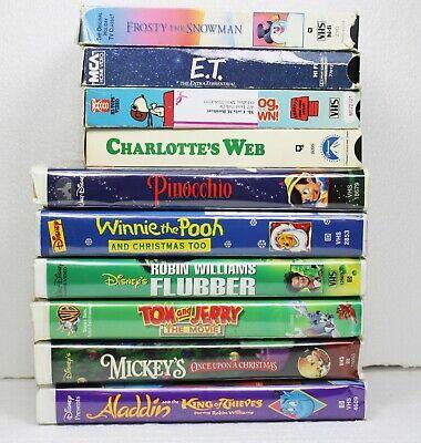 Walt Disney VHS Lot 10 Pooh Mickey ET Frosty Tom Jerry Aladdin Pinocchio VCR2