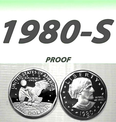 1980-S SUSAN B. ANTHONY BRIGHT CLEAR UN-CIRCULATED PROOF DOLLAR===BU===C/N===