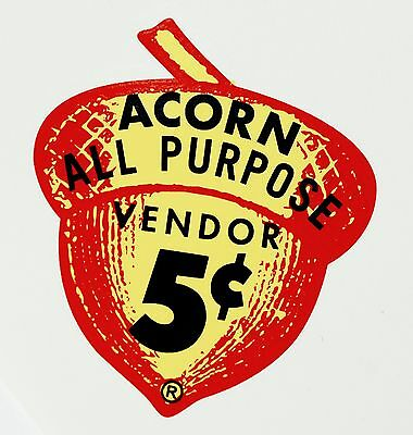ACORN, 5 CENT. VENDING, COIN OP, WATER SLIDE DECAL DA 1036