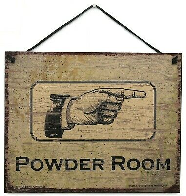 8x10 Sign POWDER ROOM to the Right Pointing Direction Directional Women Bathroom (Antique Powder Room Sign)