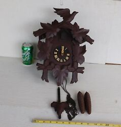 ANTIQUE CUCKOO WALL CLOCK REGULA  GERMANY WOODEN CLOCK  VINTAGE WORKING