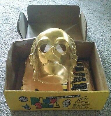 VINTAGE 1970s STAR WARS C-3PO HALLOWEEN COSTUME & MASK, BEN COOPER SUPERHERO BOX (C3po Mask)