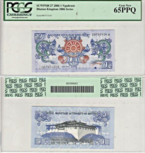 2006 Bhutan Kingdom 1 Ngultrum Pick 27a PCGS 65PPQ