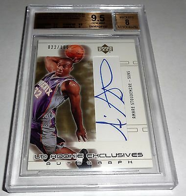 2002 - 03 AMARE STOUDEMIRE UD Rookie Exclusives Autograph Signature BGS 9.5 GEM