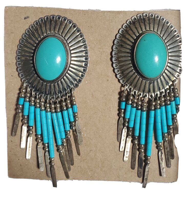 """Southwest Native Q.T. Quoc Turquoise Sterling Concho Dangle Earrings 3"""" Pierced"""