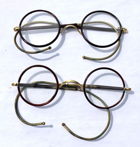 2 x ANTIQUE FAUX TORTOISESHELL FRAMED CIRCULAR SPECTACLES / GLASSES - BENDY ARMS
