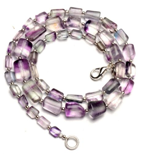 """Natural Gem Rainbow Fluorite 7x5 to 13x9mm Size Smooth Nugget Beads Necklace 21"""""""