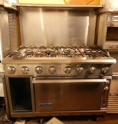 Gas Range By Viking 48 8 Burner Model V24b4-ng In Excellent Condition
