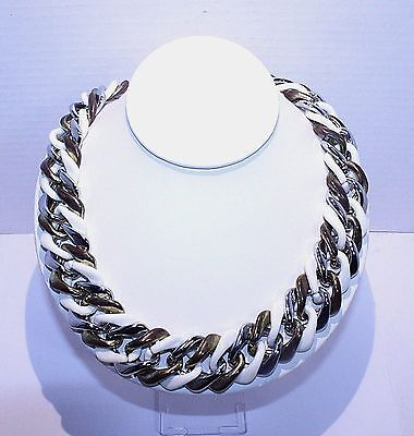 Vintage Super Chunky Tri Colored Curb Link Necklace White Silvertone Coppertone