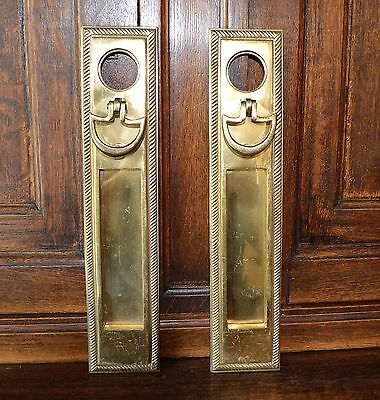 One Antique Brass Mail Box Slot Knocker Knob Handle Backplate in One Door Mount