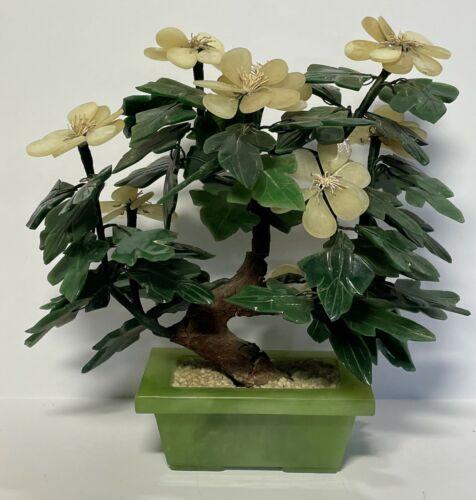 "Chinese Carved Quartz Jade Stone Glass 11"" Flowering Bonsai Tree Cherry Blossom"