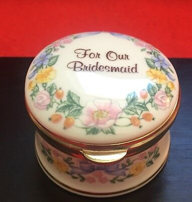 """Porcelain """"For Our Bridesmaid"""" Trinket Box, by Falcon China Staffordshire (2"""")"""