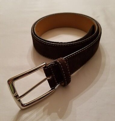 DESANTO CHOCOLATE BROWN SUEDE LEATHER SQUARE SILVER BUCKLE BELT SIZE 32