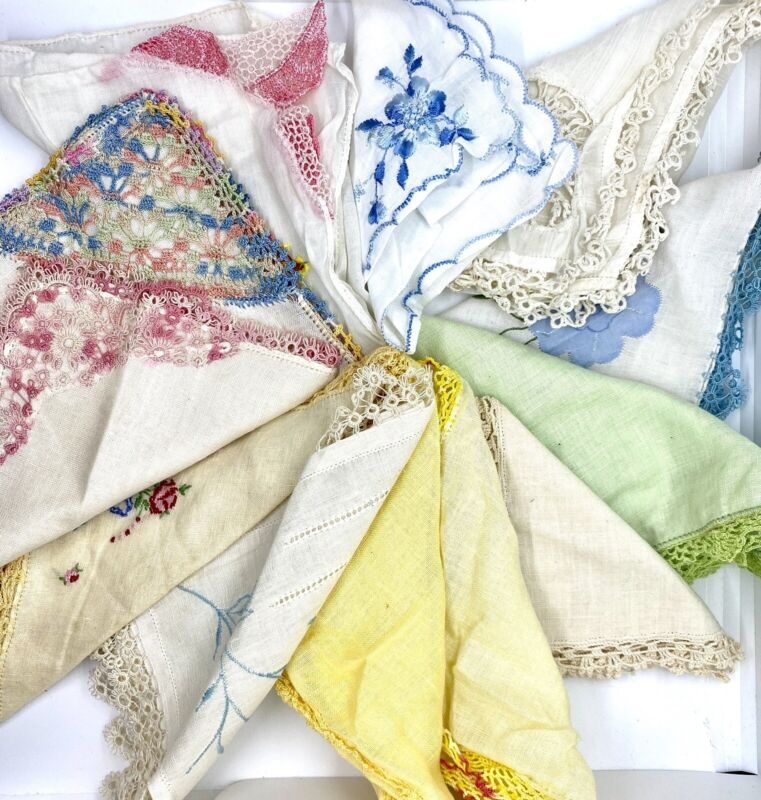 Lot of 12 Vintage Handkerchiefs Hankies Detailed Edges Crochet Embroidery