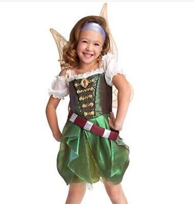 NWT DISNEY ZARINA TINKERBELL TINK PIRATE FAIRY COSTUME DRESS GIRLS S 5 6 & WINGS - Zarina Fairy Costume