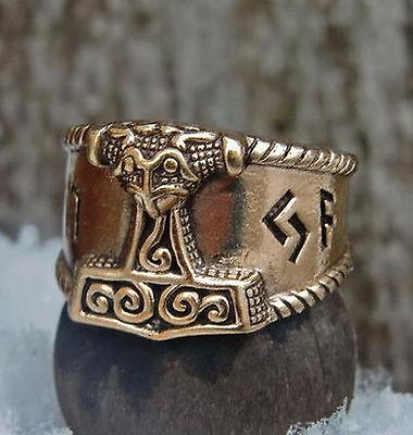 massiver Schonenhammer Ring Bronze Gr.52-59 Wikingerring Mittelalter Runen Thor