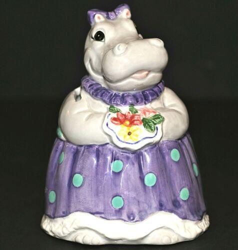Otagiri Happy Hippo Musical Bank Vintage Hand Painted Removable Plug