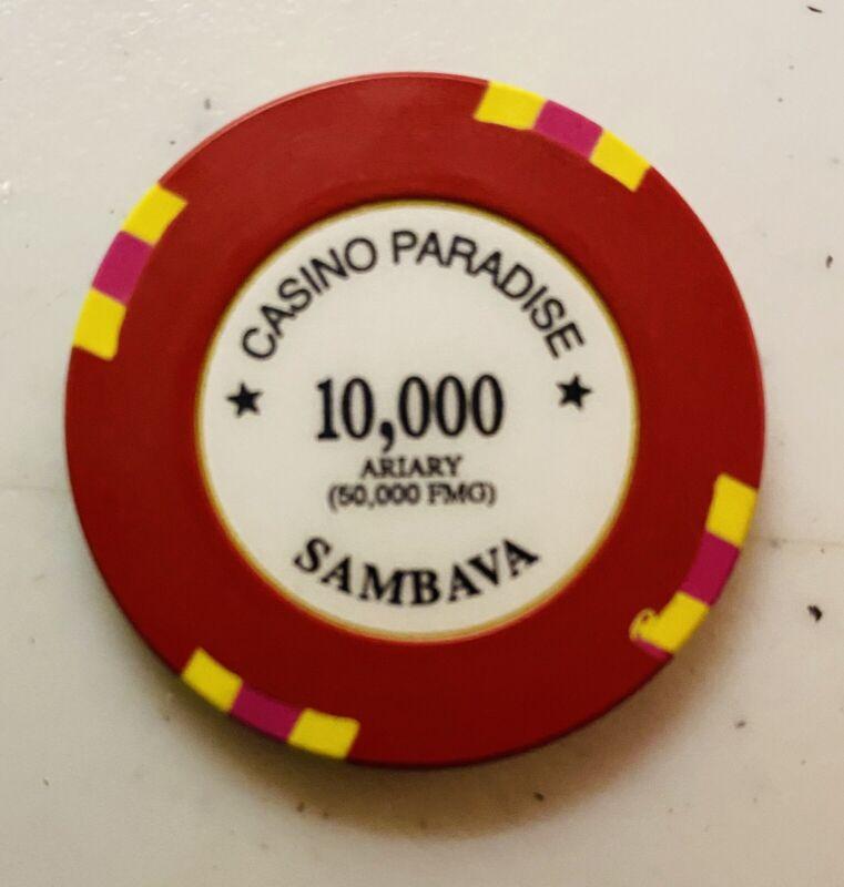 CASINO PARADISE,  PARADISE HOTEL, RARE $10,000 CHIP, MADAGASCAR,  AFRICA