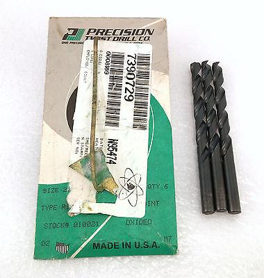 "x5 New Precision Twist Drill 1//4/""-E HSS USA 279 Jobber Length Black Oxide Bits"