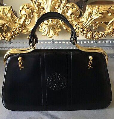 Vintage Roberta Di Camerino Black Leather w Sunburst Design & Gold Brass Bag