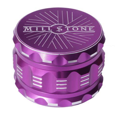 Millstone Tobacco Herb Grinder 4-Piece Metal 2.5 inch Large Magnetic Top Purple