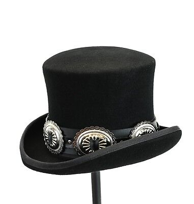 91a228e0e7d42 Conch Wool Felt Top Hat Steampunk Topper Victorian Mad Hatter Slash Leather  Band