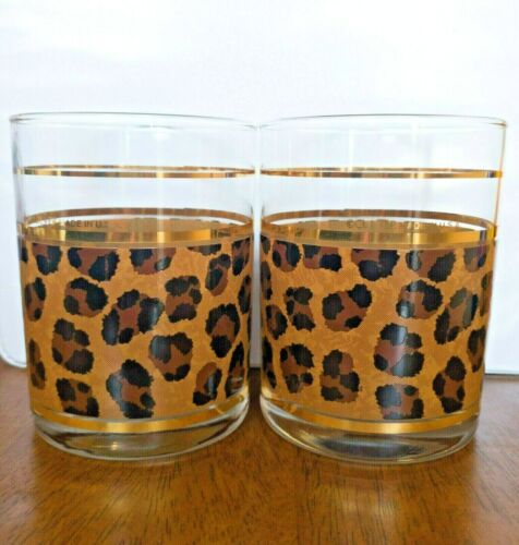 Vintage Culver Leopard Print Low Ball Old Fashion Glasses