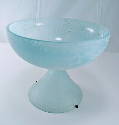 VINTAGE GREEN BLUE FROSTED CHALK GLASS PEDESTAL BOWL DECORATIVE CENTER PIECE