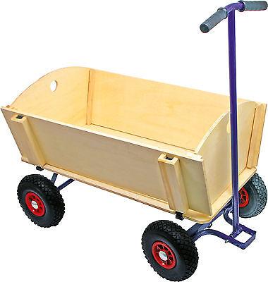 Bollerwagen Handwagen bis 80 kg belastbar Leiterwagen Transportwagen aus Holz