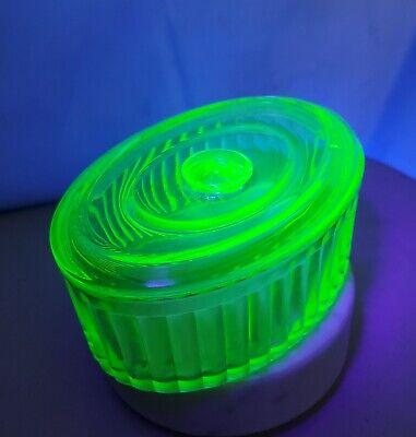 Vintage Oval Shaped Ribbed Vaseline/Uranium Refrigerator Glass Dish w/lid