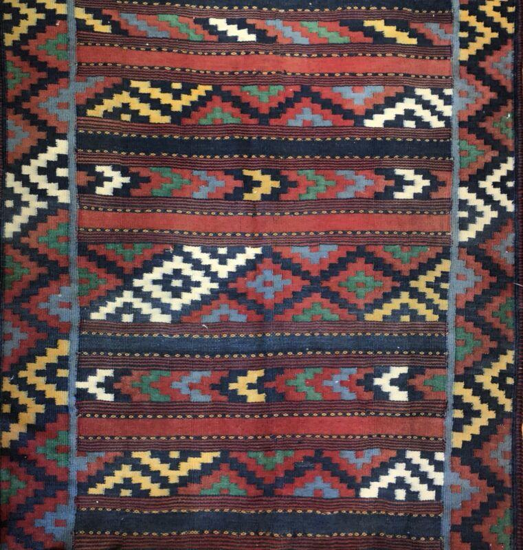 Amazing Azerbaijani - 1960s Vintage Kilim Rug - Tribal Flatweave Carpet 5 X 7 Ft