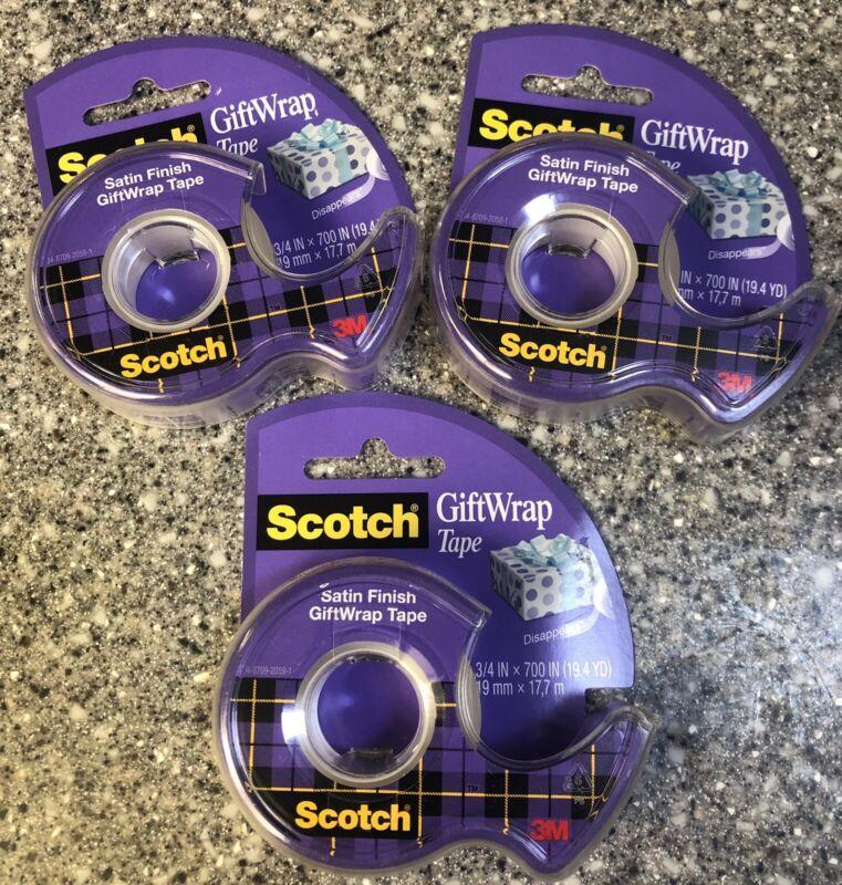 """3M Scotch gift wrap satin tape - 3/4"""" by 700"""" x 3 rolls New"""