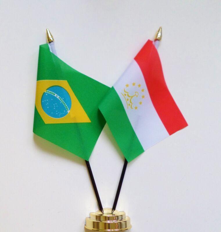 Brazil & Tajikistan Double Friendship Table Flag Set