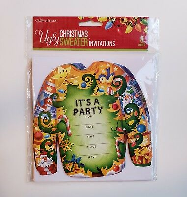 Lot Of 4 Christmas Ugly Sweater Party Invitations 8 count (32) (Ugly Sweater Invitations)
