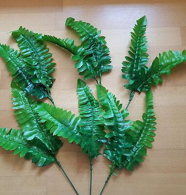 �ck 6 Stiele Textil Seidenblumen Tischdeko Floristik Basteln D (Farn-blätter)