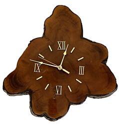 Lacquered Tree Trunk Wood Slab Wall Clock Mid Century Modern Rustic  Retro Vtg