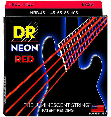DR NRB-45 4 string Hi-Def Neon Red Coated Bass Guitar Strings 45-105 MED