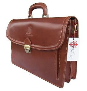 Stradefiorentine Made in Italy Leather Business Bag Briefcase Messenger Lawyer