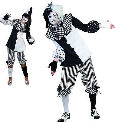 Pierrot Harlekin Clown schwarz weiß Damen Herren Kostüm  Karneval Hut FASCHING