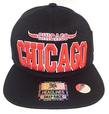 New Chicago Bulls Hat NBA Basketball Snapback Adjustable Windy City Horns NWT