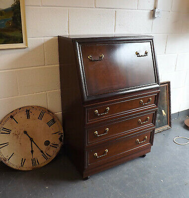Old Wooden Bureau With Drawers and Document Holders Flip Down Front Wood