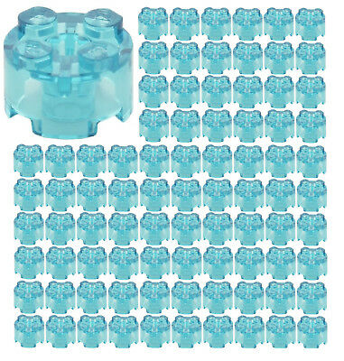☀️100x NEW LEGO 2x2 TRANS-LIGHT BLUE ROUND Bricks (ID 3941) BULK Parts Trans