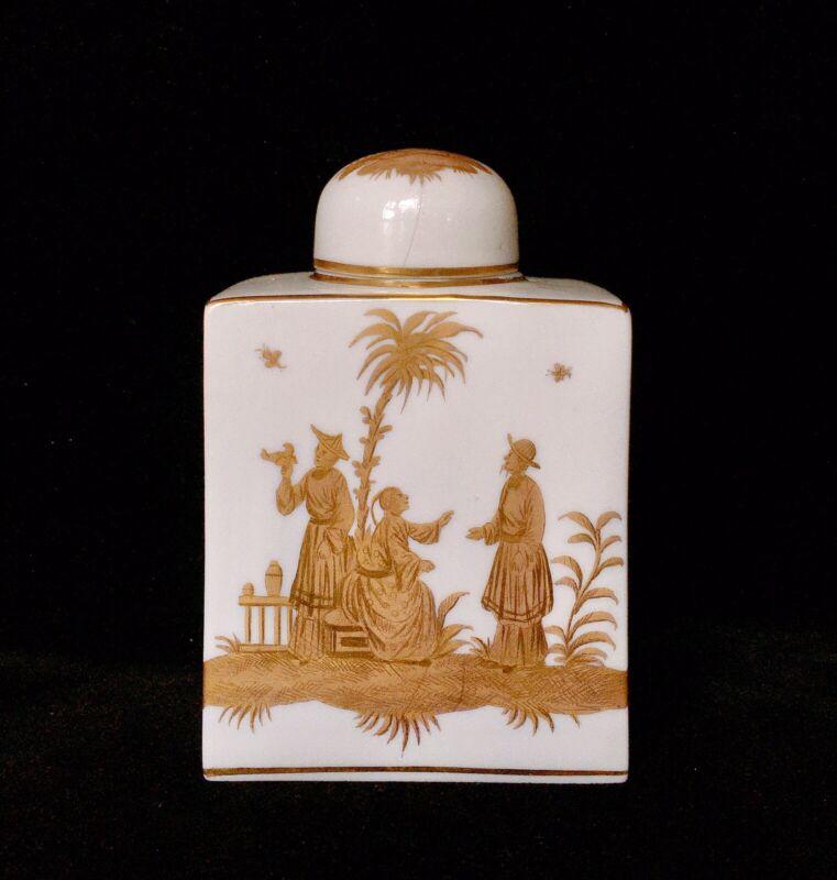 Antique Carl Thieme Dresden Chinoiserie (gold Chinese) Tea Caddy