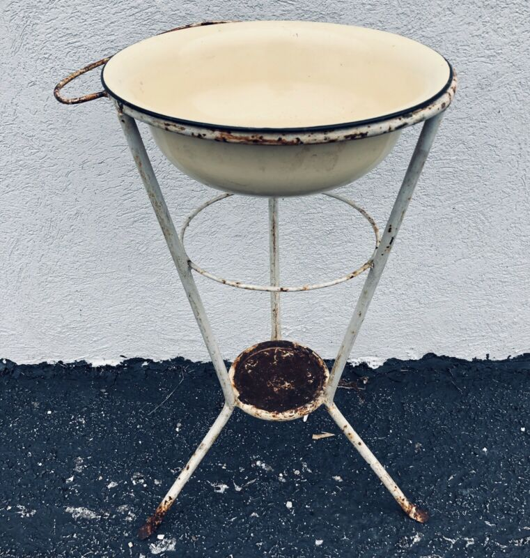 Antique French Wrought Iron Washstand Wash Basin Stand Vanity Bath Plant Stand