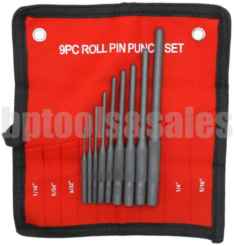 9pc Forged Steel Roll Pin Punch Set in Roll Up Pouch Rifle Gunsmithing Jewelers