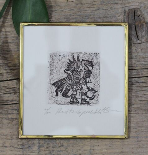 Hutzilopochtli Aztec God of Sun & War Etching Framed Mexican Folk Art by Abelar