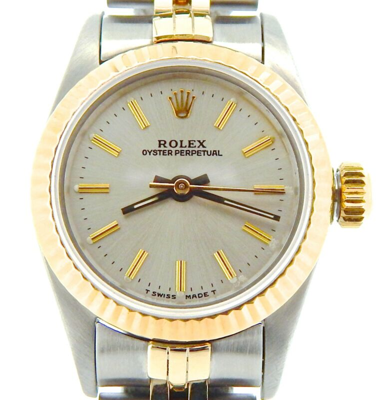 Ladies Rolex 2tone 18k Gold/stainless Steel Oyster Perpetual Watch Silver 67193
