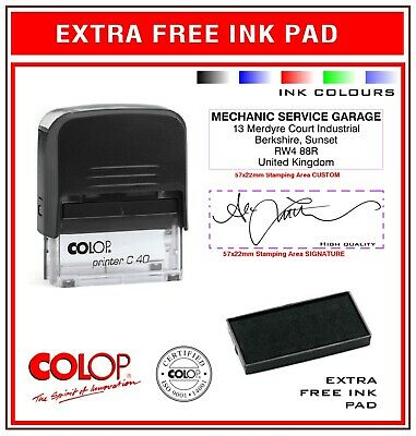 Colop Self Inking Rubber Stamp C40 Signature Custom Colours Extra Free Ink Pad