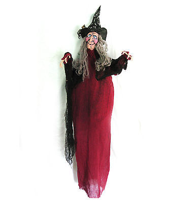Cute Witch Red Old Woman Hanging Haunted House Halloween Party Prop 48